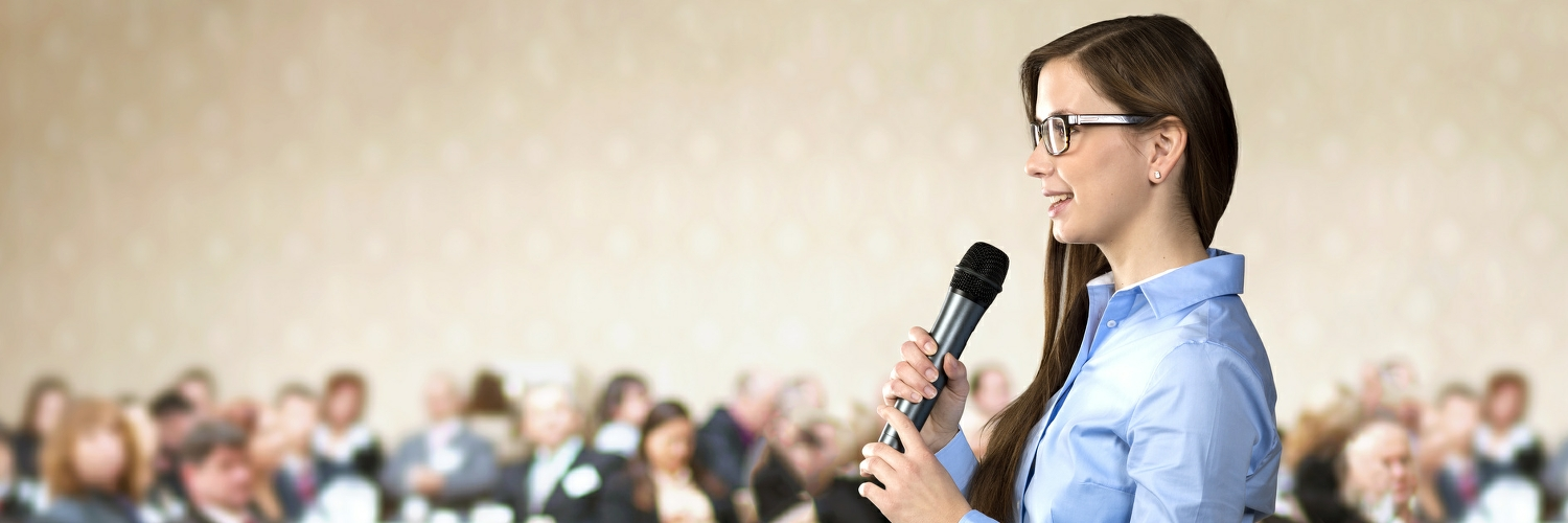 woman without fear of public speaking